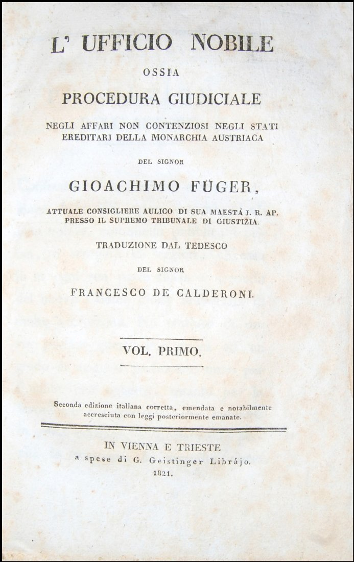 [Austria, Civil Code, Procedure] Fuger, 1821, 3 vols