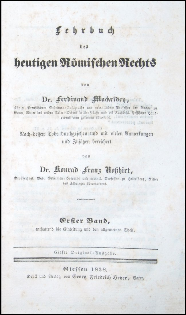 [Austrian Code and Roman Law] Mackeldey, 1838,  2 vols
