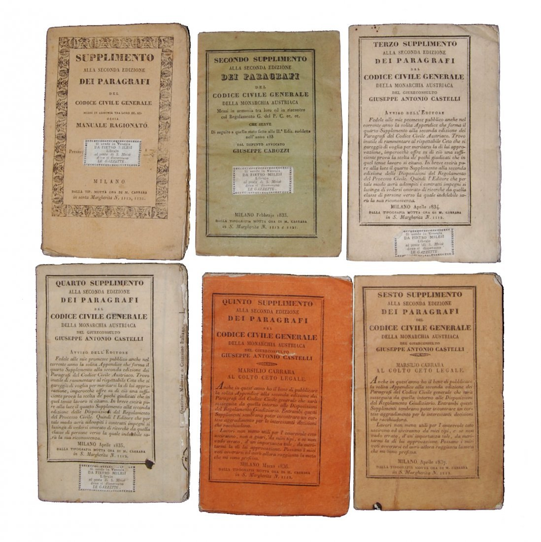 [Austria, Civil Code] Carozzi, 1831-37, 6 vols