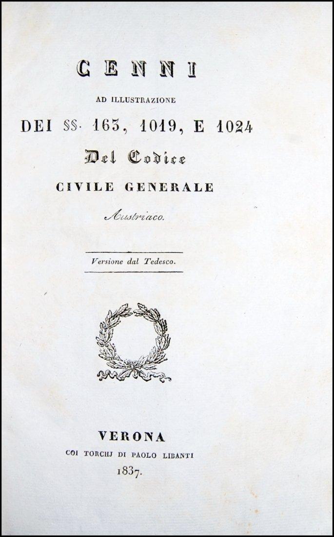 [Austria, Civil Code] Illustrazione, 1837, 2 vols