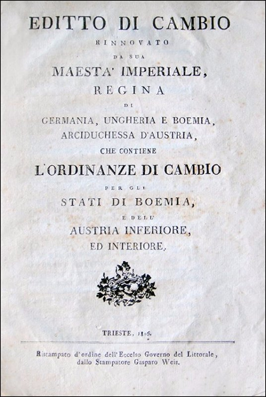 [Austria, Exchange Law] Editto di cambio, 1816