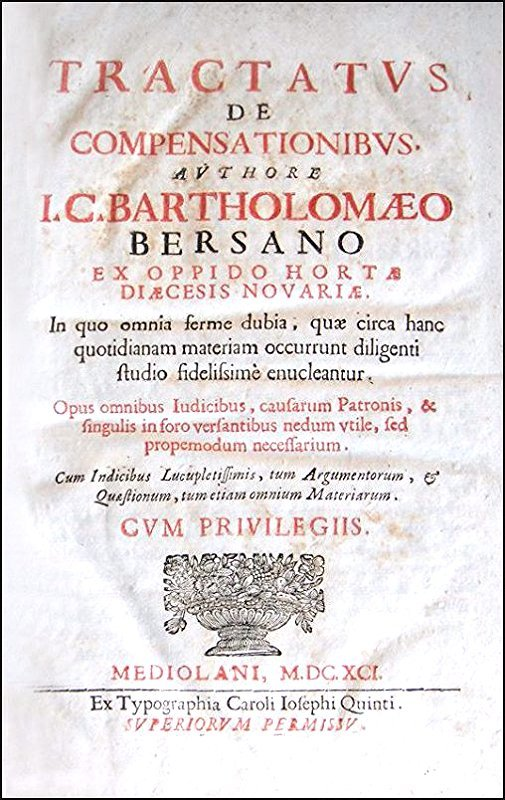 [Set off & counterclaim] Bersani, Compensationes, 1691