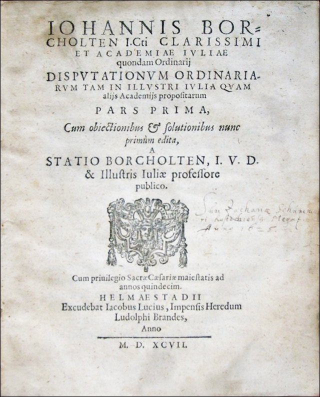 [Civil Law] Borcholten, Institutiones, 1597