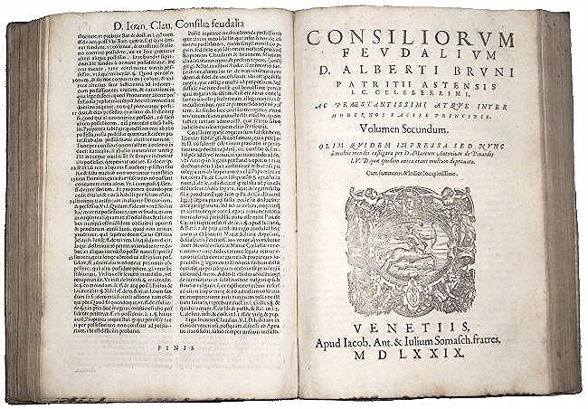 [Feudal Law] Bruno, Consilia Feudalia, 1579 NOT IN USA