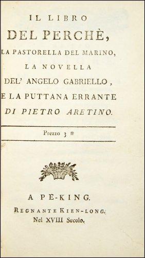 [erotism, Poems & Tales] Aretino, Libro Del Perché 1784