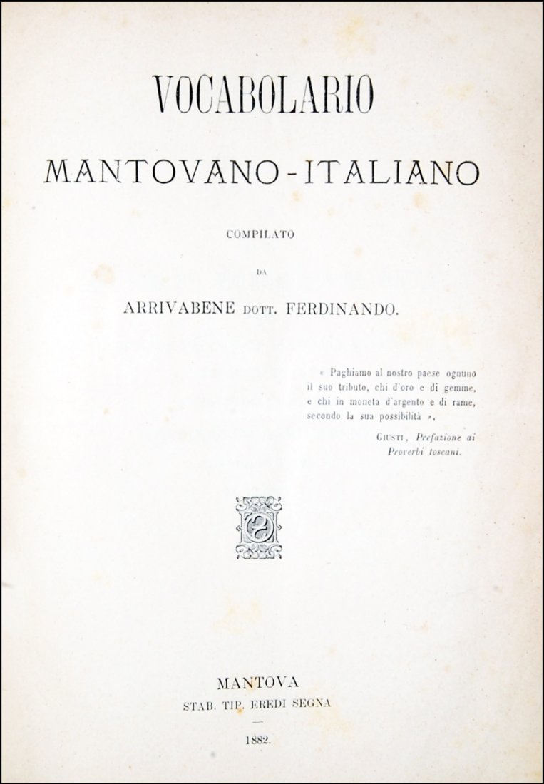 [Dictionaries, Mantua] Arrivabene, 1882