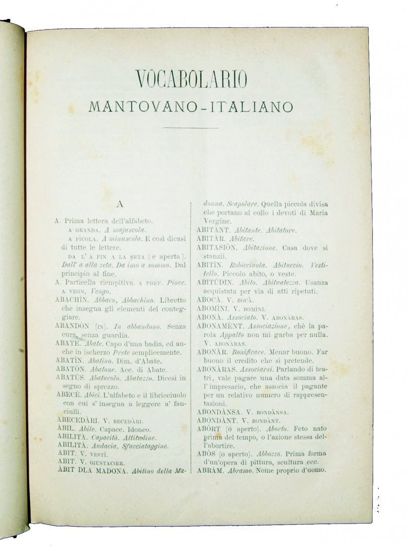 [Dictionaries, Mantua] Arrivabene, 1882 - 2