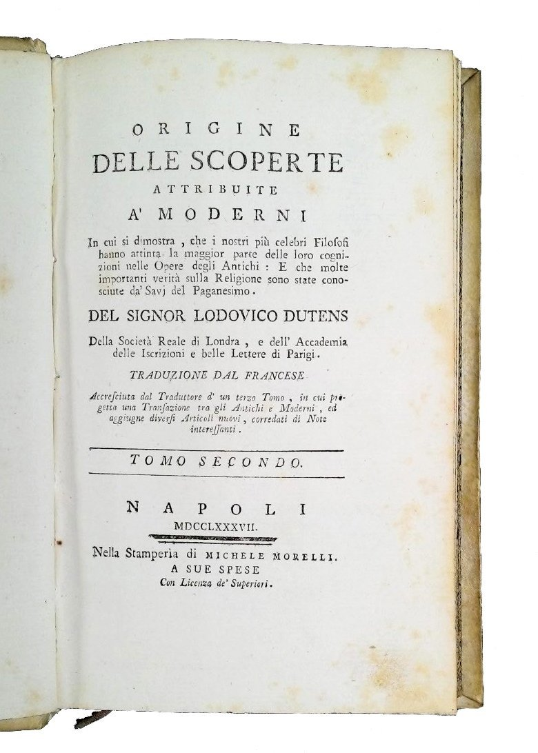 [Erudition] Dutens, Origine delle scoperte, 1787 3 vols - 5