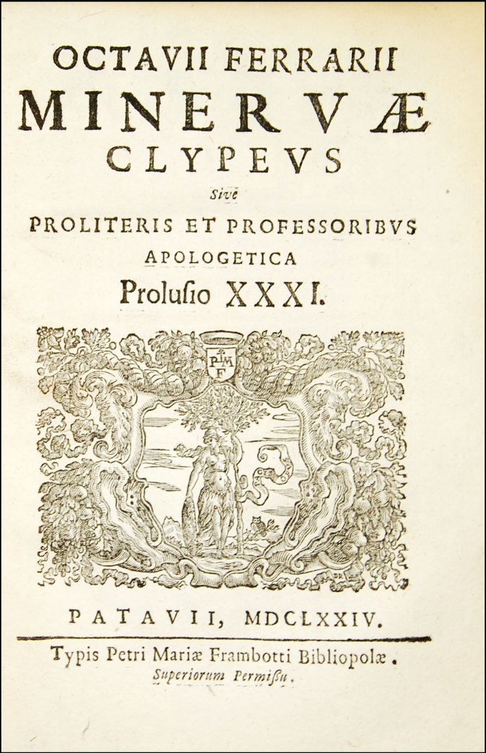[Minerva, Roman Deity] Ferrari, Prolusio 31 & 32, 1674