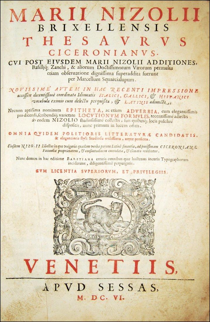 [Dictionaries] Nizzoli, Thesaurus Ciceronianus, 1606