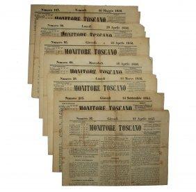 [newspapers, Tuscany] Monitore Toscano, 1853-56, 7 Pcs