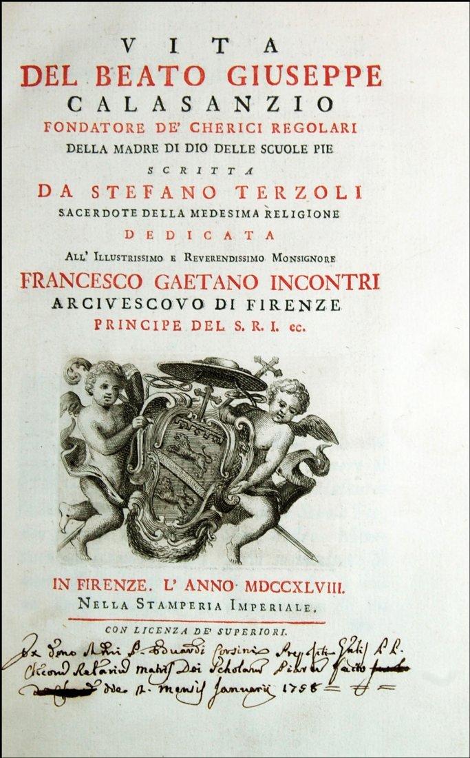 [Saints, Lives, St. Joseph Calasanz] Terzoli, 1748