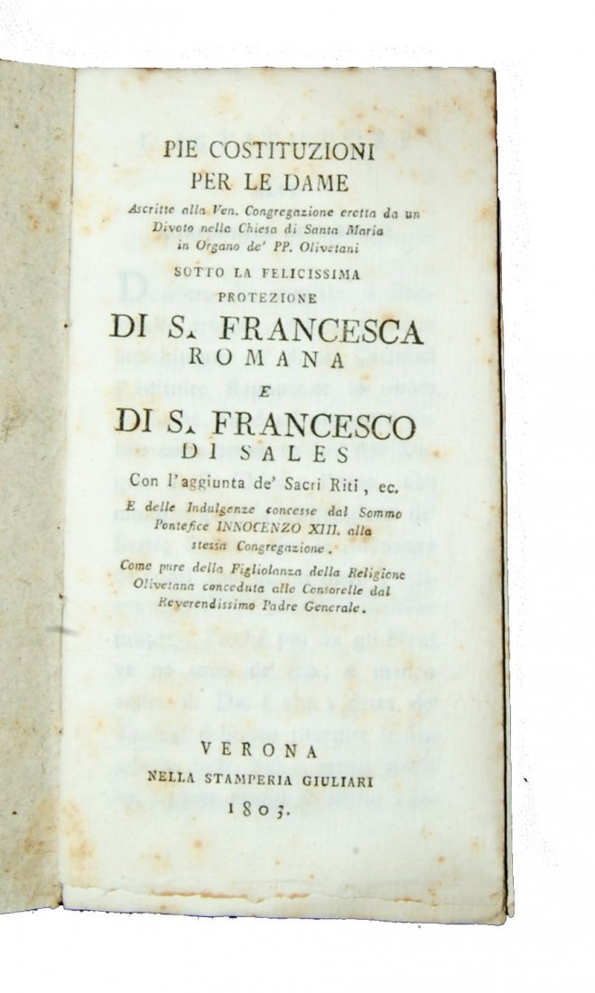 [Statutes, Congregations, Verona] Dame, 1803 - 2