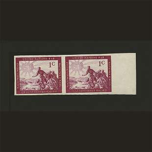 UN Peoples Imperf Plate Proof- Pair
