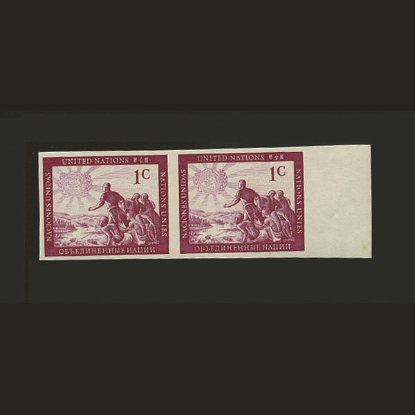 1007: UN Peoples Imperf Plate Proof- Pair