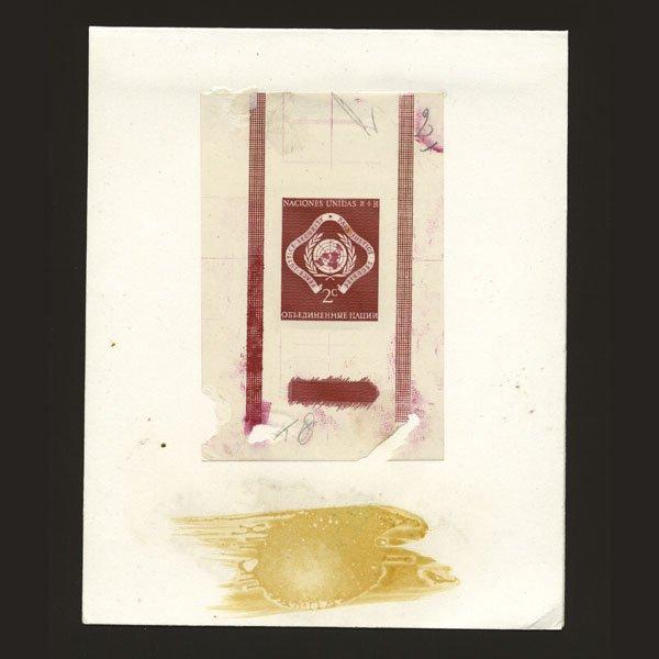 1015: UN 2c Emblem in Red Color of $1 stamp