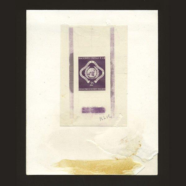 1016: UN 2c Trial Color Die Proof Deep Purple