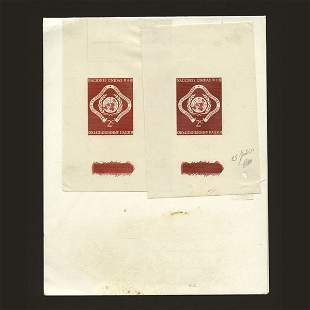 UN 2 2c Emblem proofs in shades of red