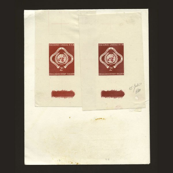 1018: UN 2 2c Emblem proofs in shades of red