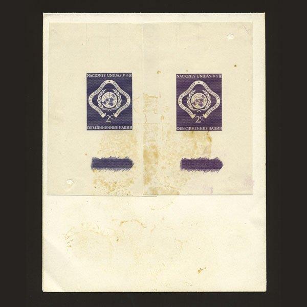 1019: UN 2c Emblem Trial Color Proofs Purple