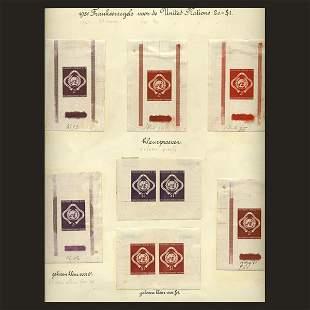 UN 2c, $1 Emblem Trial Color Die Proofs