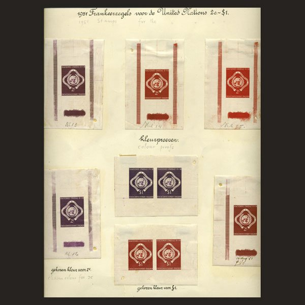 1020: UN 2c, $1 Emblem Trial Color Die Proofs