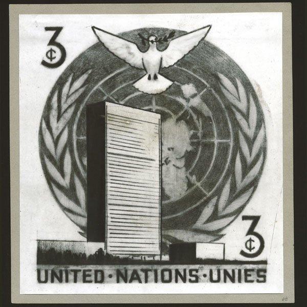 1023: UN 3c UN HQ Building with Dove - unique