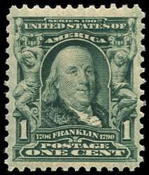 #300, 1c Blue green,