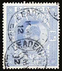 #141, 1902 10/- Ultramarine,