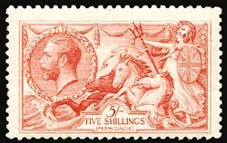 2820: #180, 1919 5/- Carmine Rose