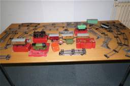 Early Hornby O Gauge clock work train set with two