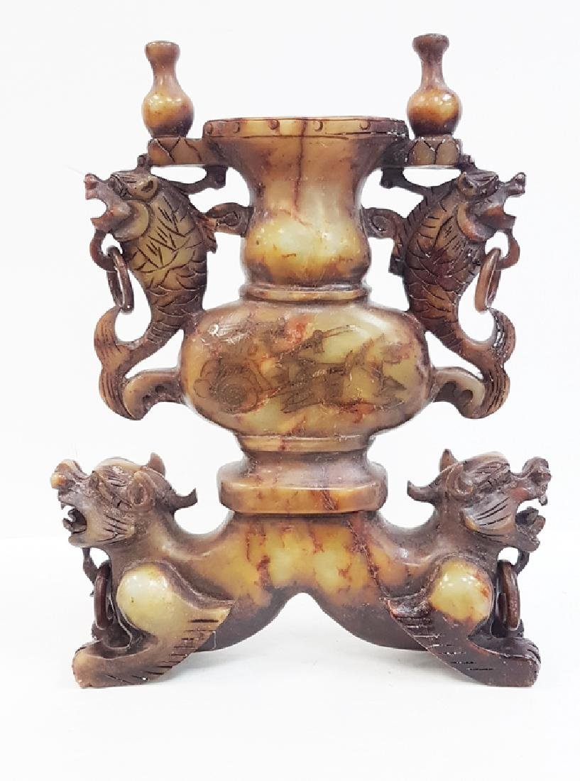 CHINESE CARVED JADE DRAGON URN