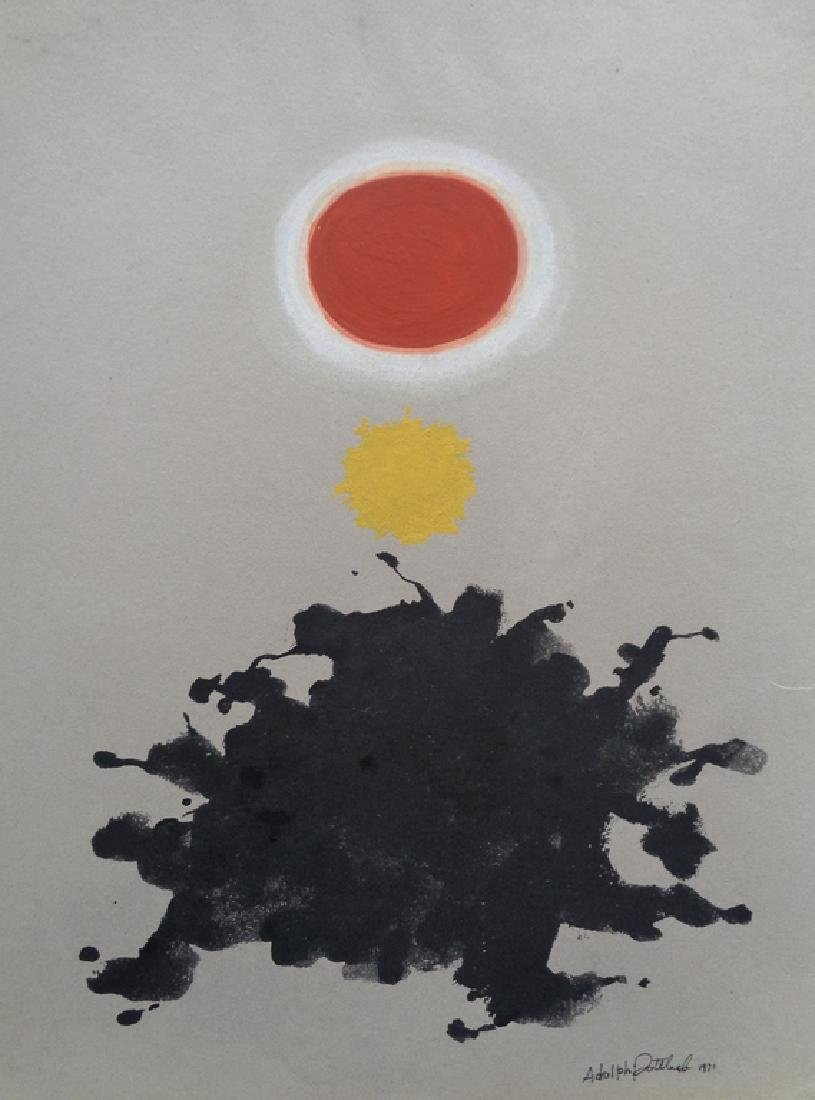 ADOLPH GOTTLIEB GOUACHE AND INK ON PAPER WITH CERT