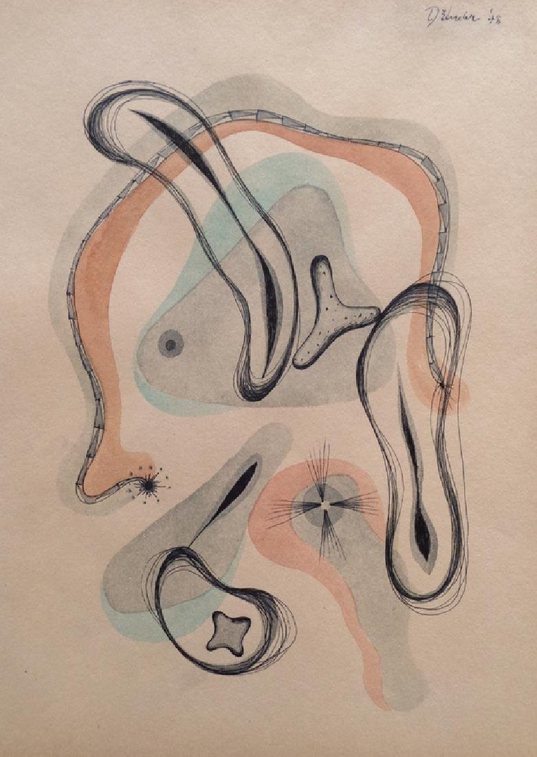 DOROTHY  DEHNER  watercolor and ink on paper