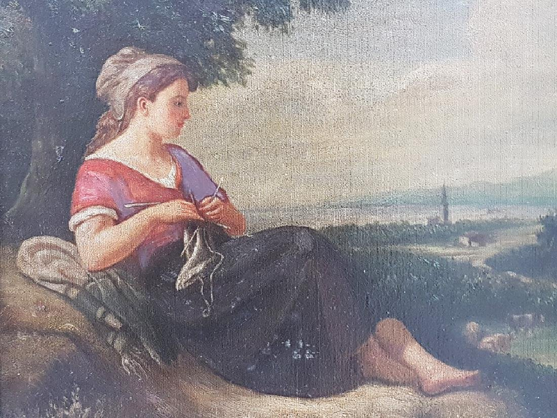 ANTIQUE UNSIGNED OIL ON CANVAS