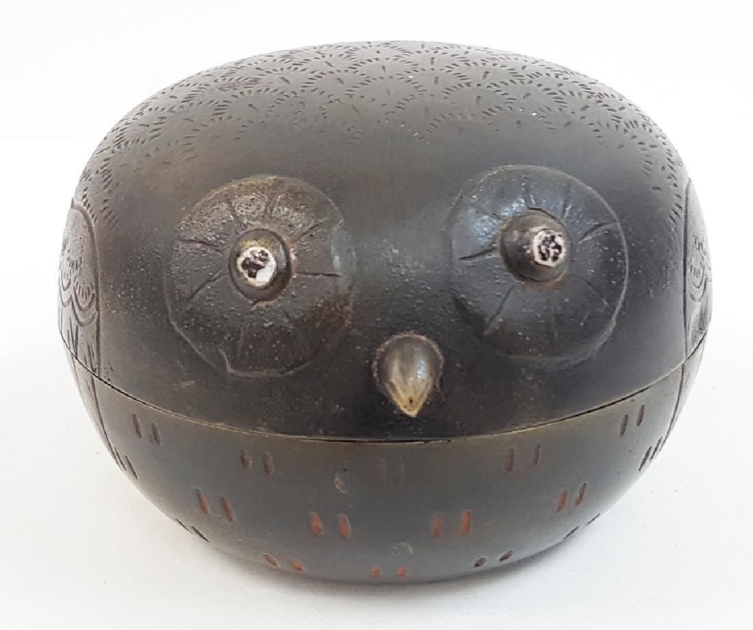 ANTIQUE OWL SHAPED METAL BOX