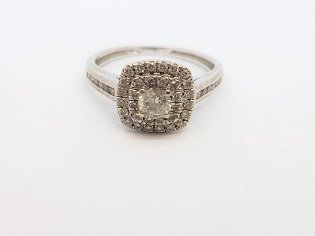 VINTAGE 10K WHITE GOLD DIAMOND RING