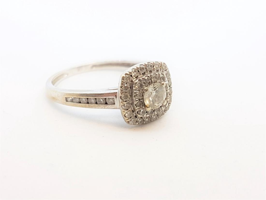 VINTAGE 10K WHITE GOLD DIAMOND RING - 2