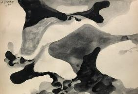 JAMES BROOKS WATERCOLOR ON PAPER