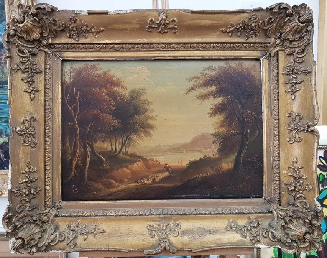 ANTIQUE UNSIGNED OIL ON WOOD PANEL