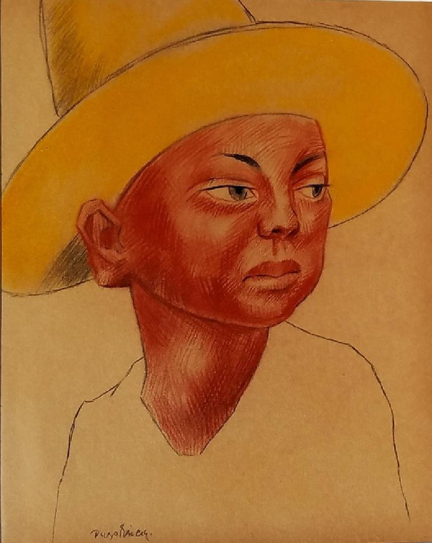 DIEGO RIVERA CRAYON ON PAPER