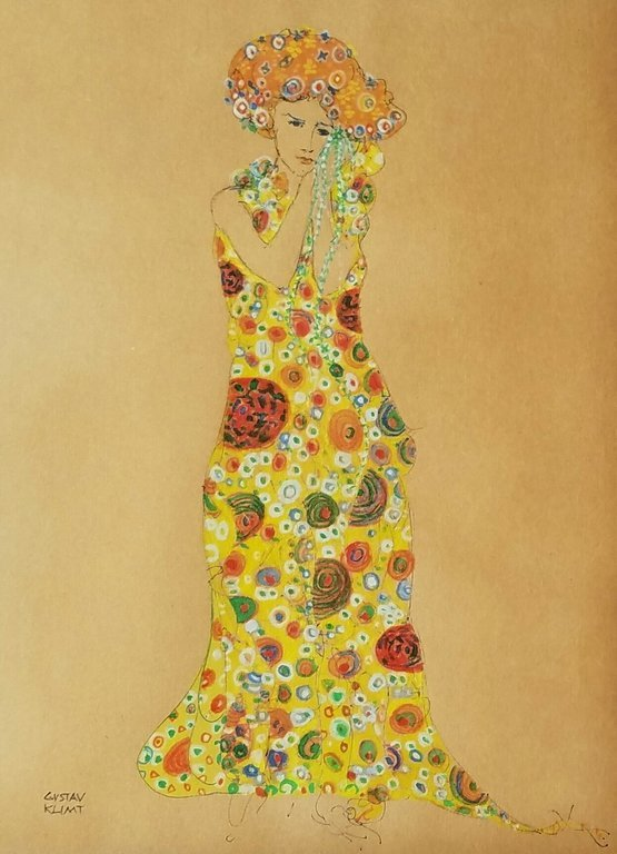 INK AND WATERCOLOR ON PAPER SIGNED GUSTAV KLIMT