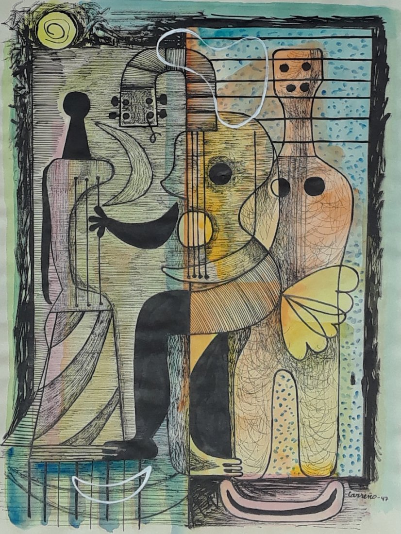MARIO CARRENO WATERCOLOR AND INK ON PAPER