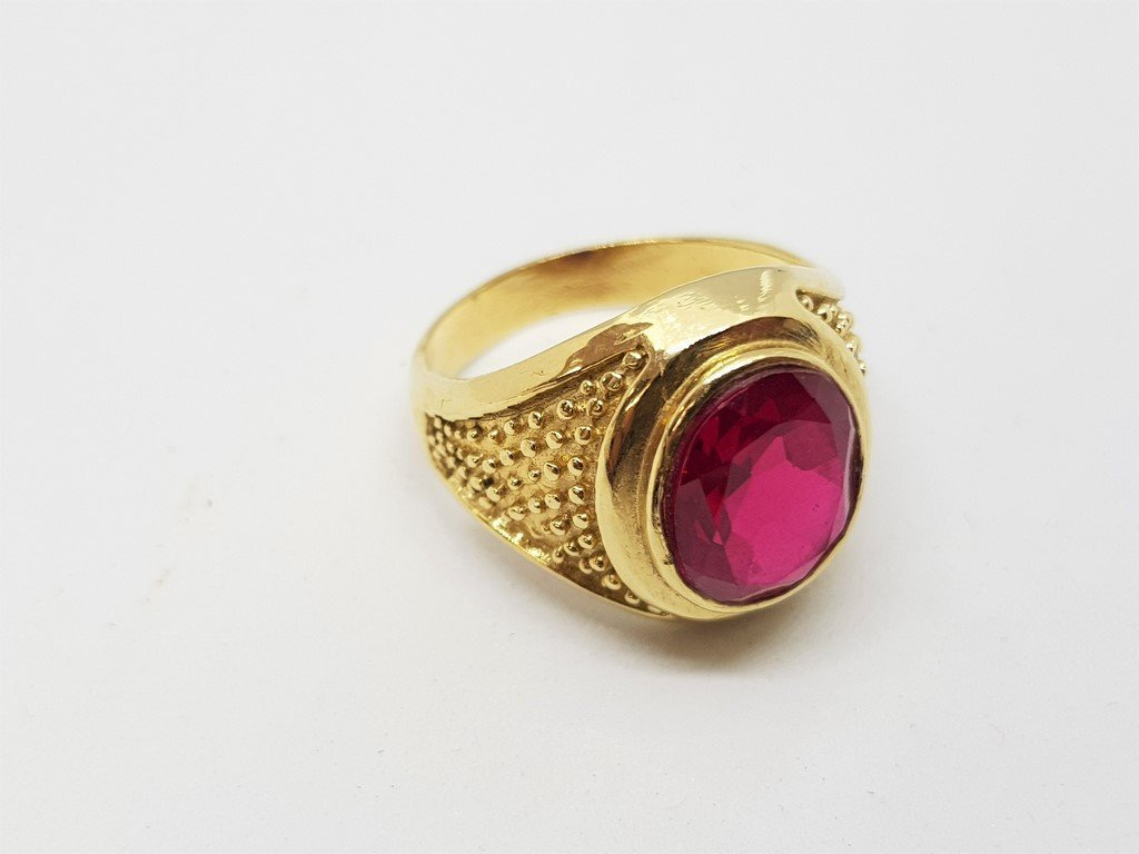 14K YELLOW GOLD MENS RUBY RING