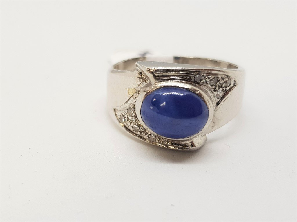 14K WHITE GOLD STAR SAPPHIRE DIAMOND RING - 2
