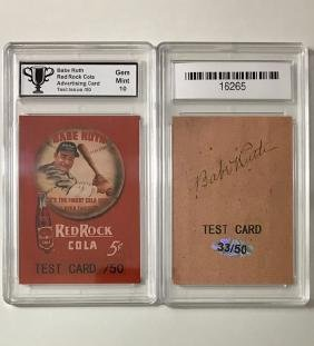 Rare Babe Ruth Red Rock Cola Test Advertising Card