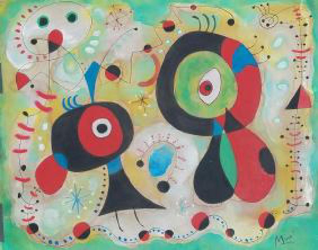 WATERCOLOR AND INK ON PAPER SIGNED MIRO