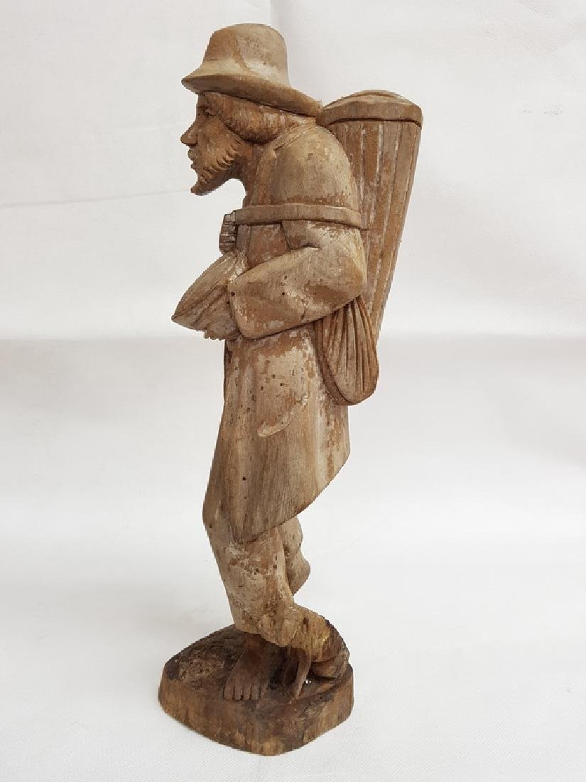 Antique Hand Carved Wood Male Figure - 2