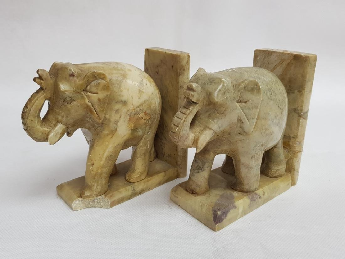 elephant marble bookends