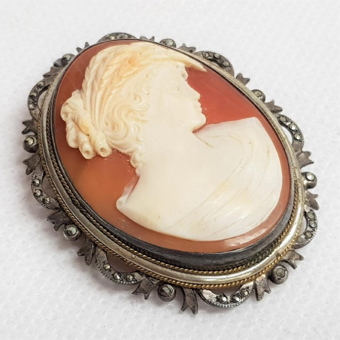 ANTIQUE SILVER CAMEO BROOCH - 2
